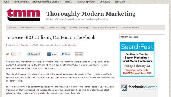 Improve SEO with Inbound Social Links post by Joel Bornzin for TMM PDX