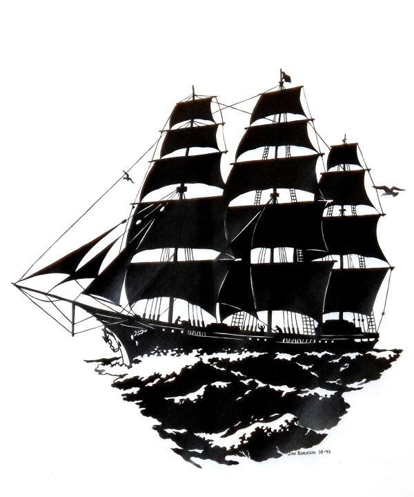 Three Masted Sailing Ship Scissor Cut by Jim Bornzin