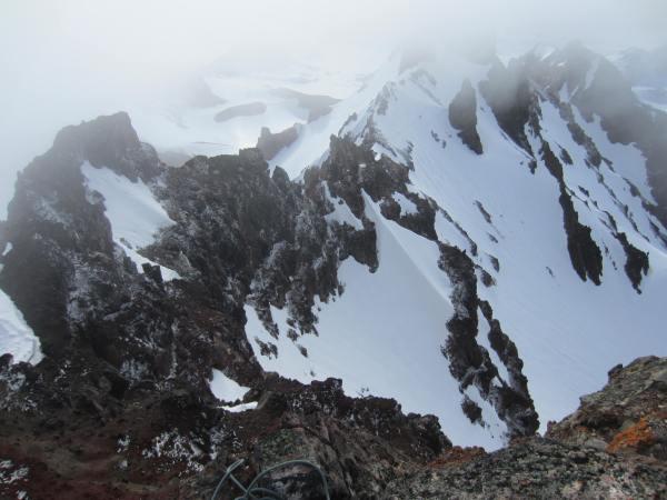 Looking Down the SE Ridge from the Summit of Broken Top Picture taken by Joel Bornzin