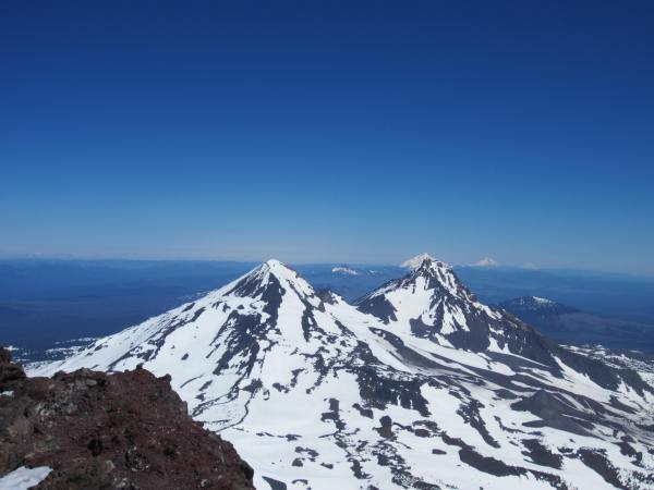View of Middle Sister and North Sister from South Sister Summit - Picture Taken by Joel Bornzin