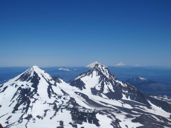 View of Middle Sister North Sister from Summit of South Sister - Picture Taken by Joel Bornzin