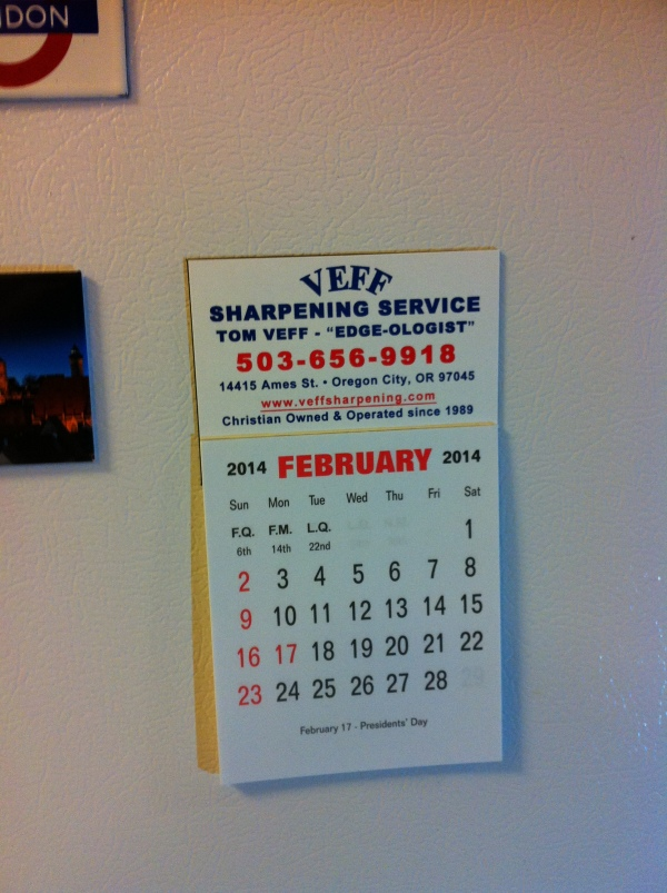 Tom Veff Calendar Refrigerator Magnet